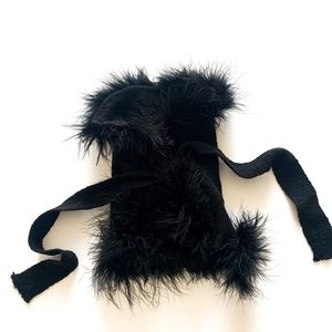 🐾Black Diva Pup Wrap Sweater w/ Feather Edging XS